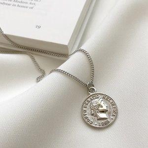 Vintage Silver Coin Pendant Necklace